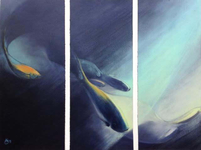 « Nuit », huile_ papier, 50-65 cm